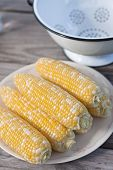 stock photo of corn-silk  - Sweet corn on plate for BBQ party - JPG