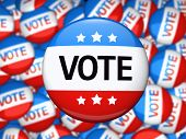 stock photo of election campaign  - Vote election campaign glossy badge - JPG