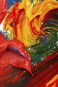 stock photo of abstract painting  - artists abstract oil painting showing vibrant colors texture and flow - JPG