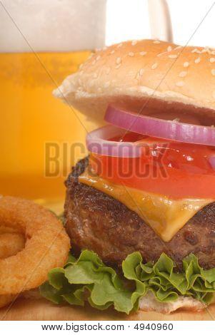 Cheeseburger Fries And Beer