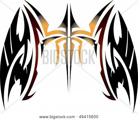 Vector illustration wing with weapontattoo and crossed