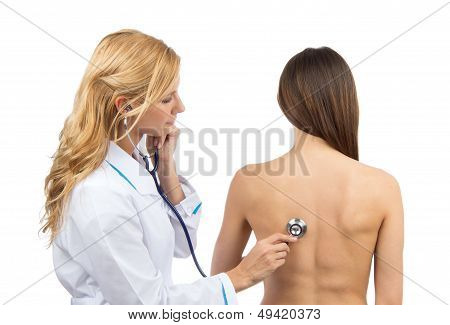 Auscultating Patient Witha  Stethoscope