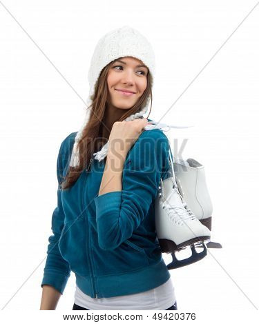 Woman Holding Ice Skates For Winter Ice Skating