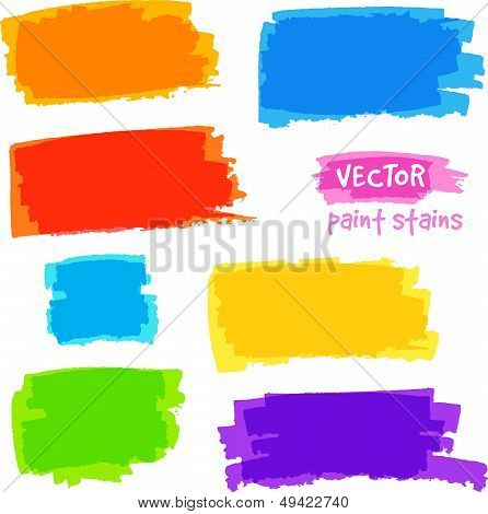 Bright rainbow colors vector pain spots set