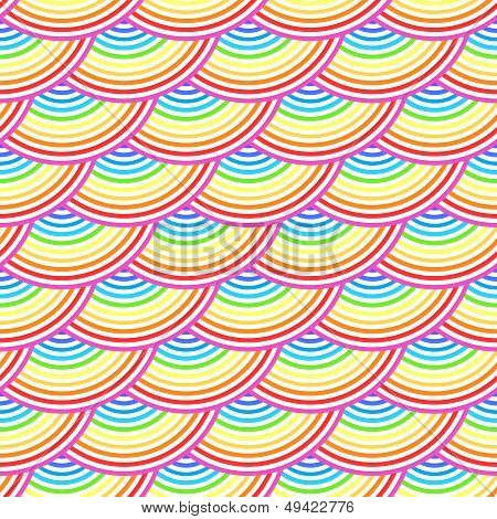 Rainbow fish scales vector seamless pattern