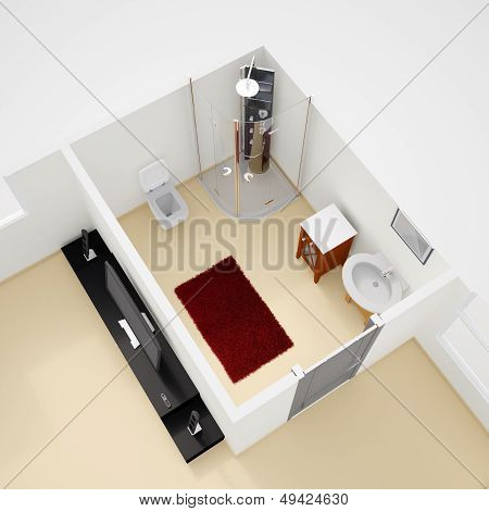 Construction Plan Interior With Bathroom