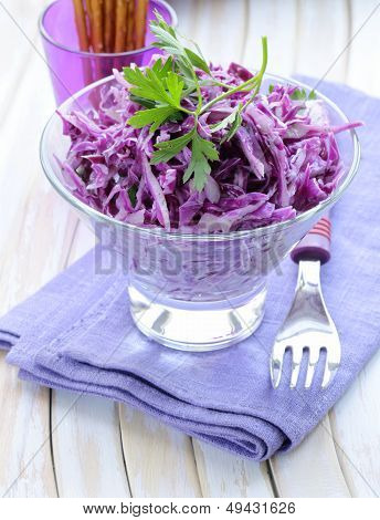 Cole Slaw salad of red cabbage with parsley and mayonnaise