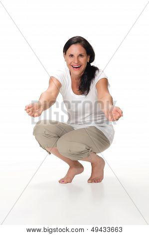 Mom Kneeling Down With Arms Outstretched