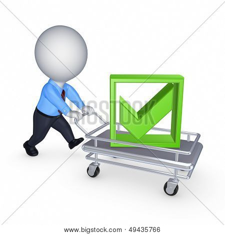 3d person with pushcart.