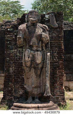 Statue In Ancient Temple, Polonnaruwa, Sri Lanka.