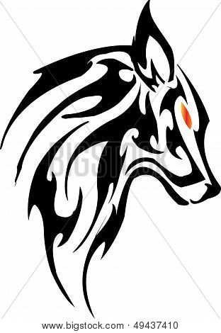 Vector image of an fox head on a white background 2