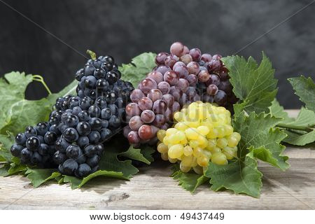 Bunch Of White And Red Grape