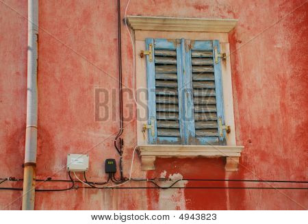 Tatty Blue Shutters In Piran
