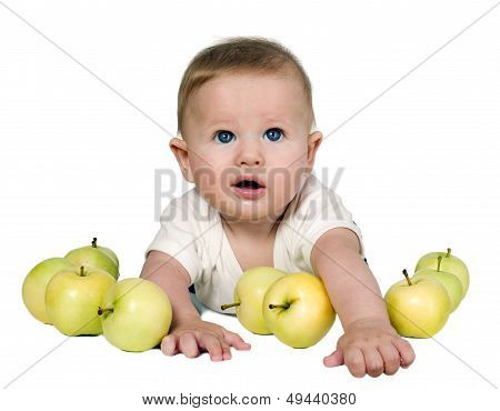 Boy Is Playing With Green Apples