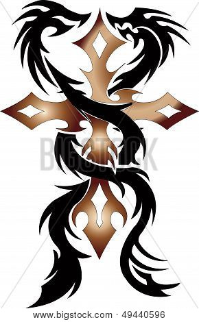 twin black dragon with cross on white background