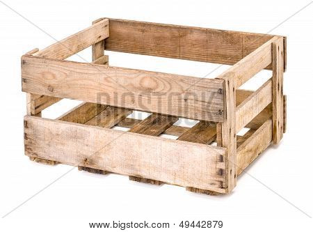 vintage wooden wine crate on a white background