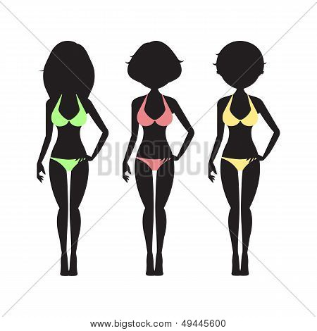 Swimsuit silhouette women in bikini
