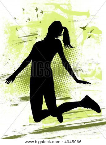 Illustration of a young girl jumping for joy