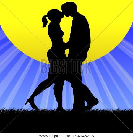 Couple Kissing Into Sun