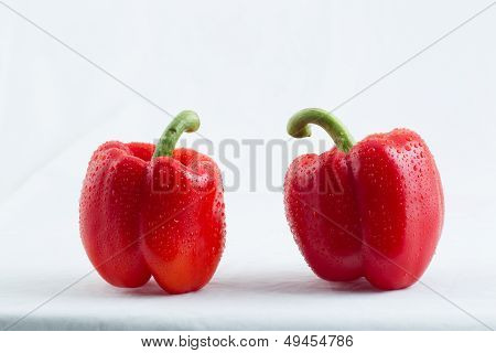 Red Bell Pepper with water drops