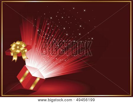 Magic Gift box on red background