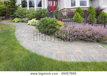 Front Yard Garden Curve Paver Path