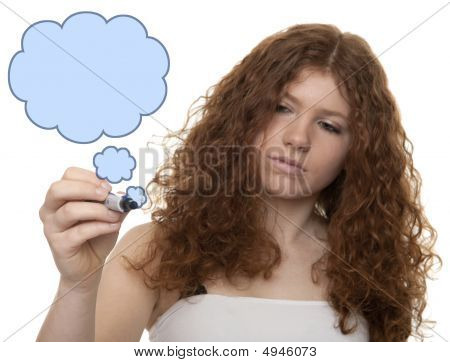 Teenager In Front Of Glass Panel With Drawing Cloud