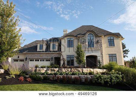 Luxury Stucco House Stone