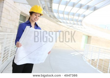 Asian Architect On Construction Site