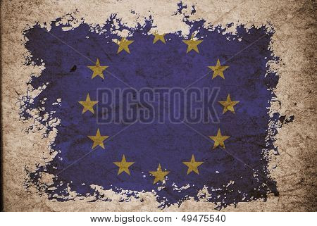 Eu Flag On Old Vintage Paper