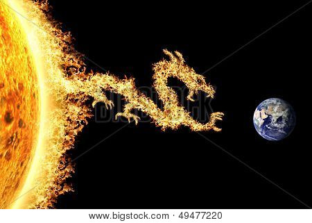 Fire Dragon From The Sun Heading Towards Earth