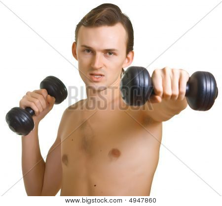 Young Naked Man With Dumbbells