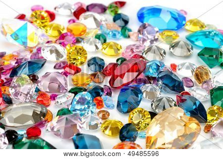 bright gems isolated on white background