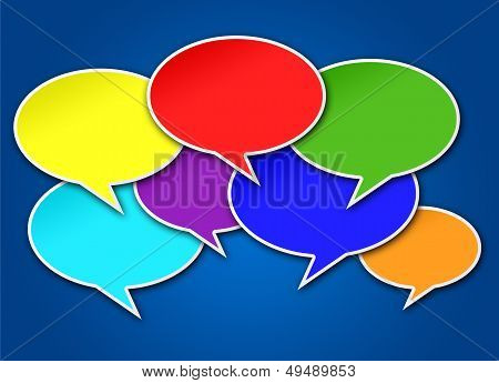 Colorful Chat Bubbles On Blue Background