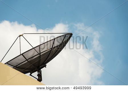 Black Cable Television Satellite Dish