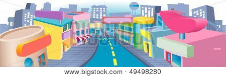 Ilustração de rua comercial