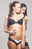 Beautiful sensual lesbian couple in lingerie on gray isolated background