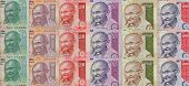 foto of mahatma gandhi  - Panoramic image of different Indian currency notes showing Gandhi in different colors - JPG