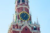 foto of chimes  - Chiming clock on the Spassky tower in the Moscow Kremlin Russia - JPG