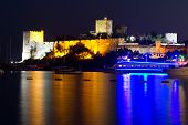 pic of yellow castle  - Bodrum Castle at Night in Mugla - JPG
