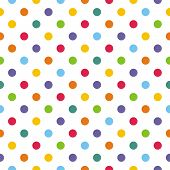 Seamless vector pattern or texture with colorful polka dots on white background for kids background
