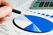 stock photo of financial management  - Stock market graphs monitoring and financial accounting - JPG