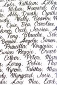 picture of cursive  - White background with people names written in cursive handwriting - JPG