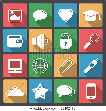 Set Of Sixteen Icon For Web In Flat Design
