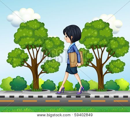 Illustration of a girl walking at the street seriously with documents