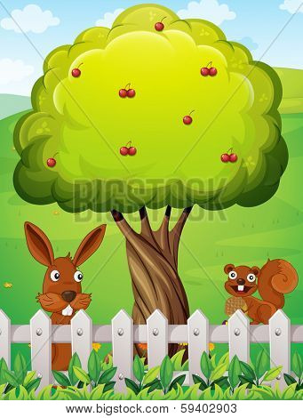 Illustration of a rabbit and a squirrel near the tree