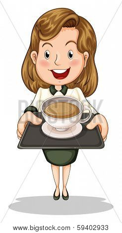 Illustration of a happy businesswoman holding a tray with a cup of choco on a white background