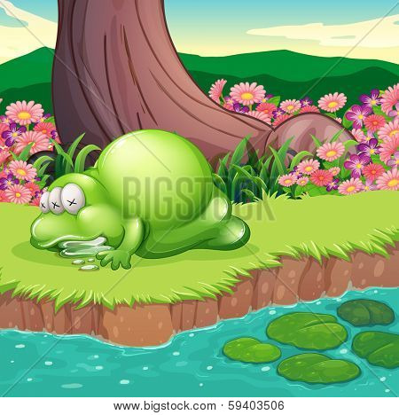 Illustration of a monster lying at the riverbank