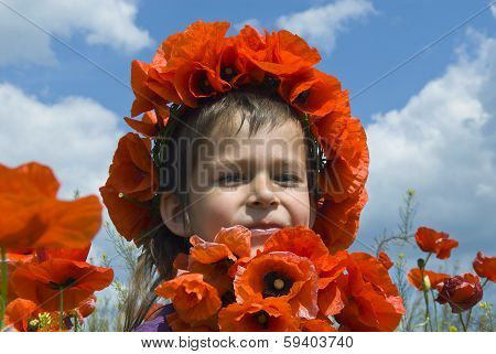 Girl With Chaplet Of Poppies