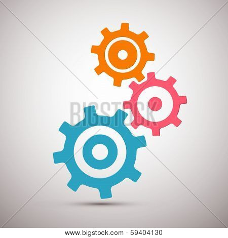 Abstract Orange, Pink and Blue Cogs - Gears